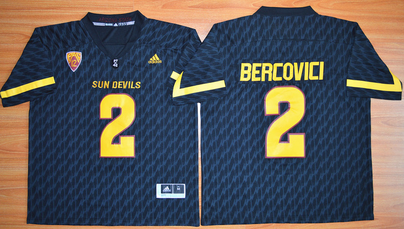 NCAA Arizona State Sun Devils 2 Mike Bercovici Black Football Jersey.