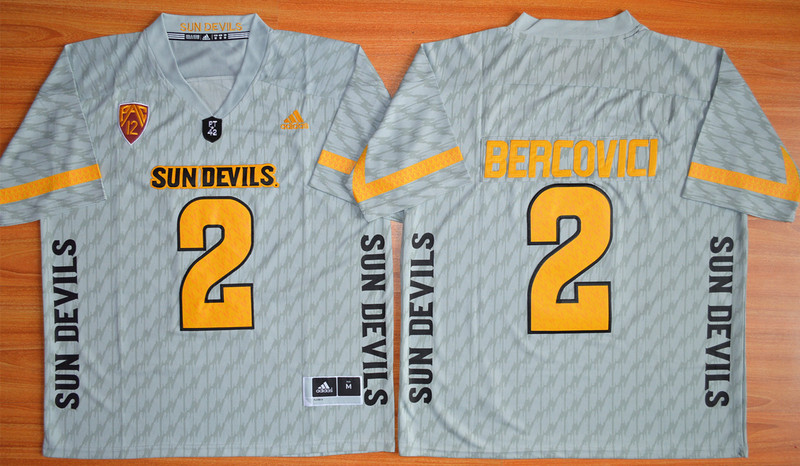 NCAA Arizona State Sun Devils 2 Mike Bercovici Grey Desert Fuel Football Jersey