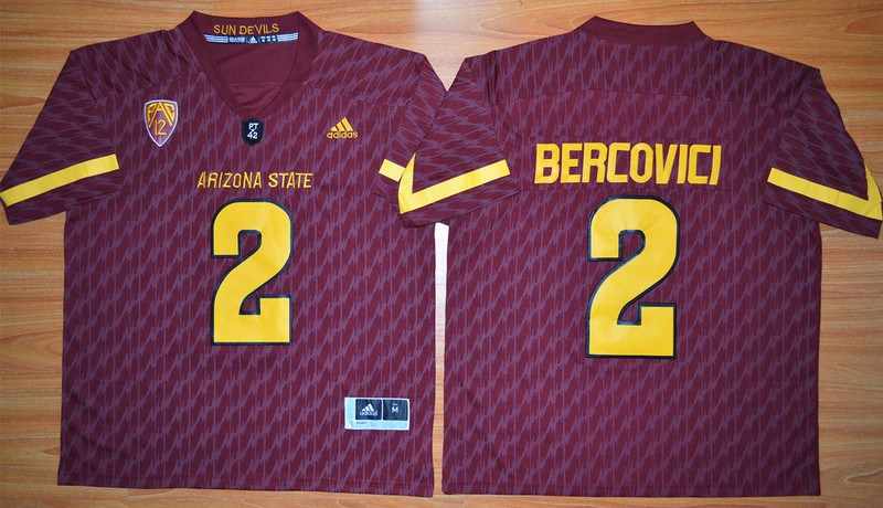 NCAA Arizona State Sun Devils 2 Mike Bercovici Maroon Football Jersey