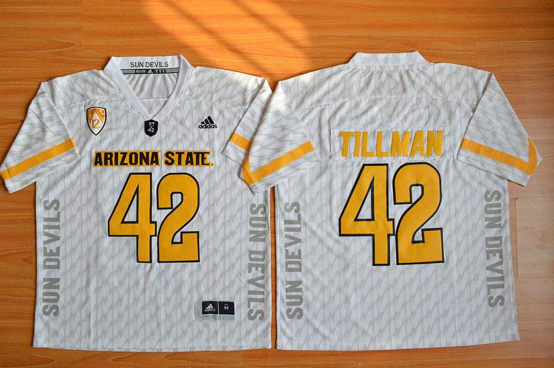 NCAA Arizona State Sun Devils 42 Pat Tillman White Desert Ice Football Jersey