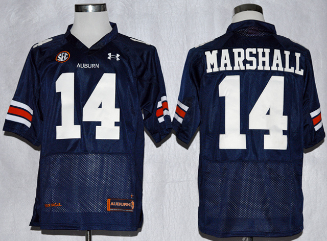 NCAA Auburn Tigers 14 Nick Marshall Navy Blue Football Jerseys