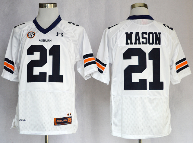 NCAA Auburn Tigers 21 Tre Mason White Football Authentic Jerseys