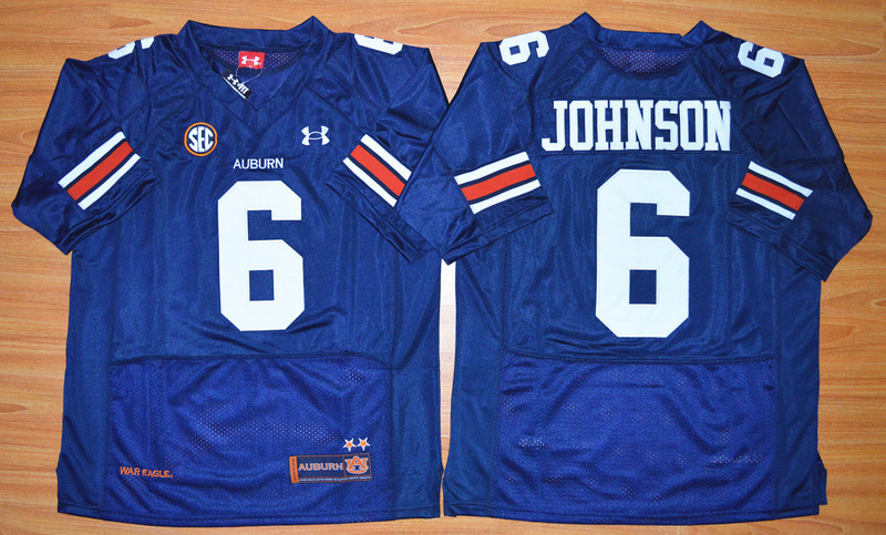 NCAA Auburn Tigers 6 Jeremy Johnson Navy Blue Football Jersey