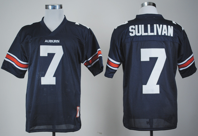 NCAA Auburn Tigers 7 Pat Sullivan Navy Blue College Football Throwback Jersey.