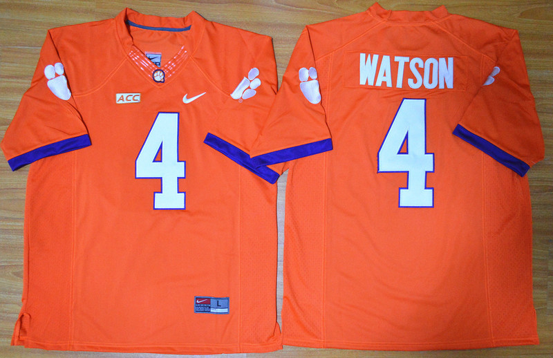 NCAA Clemson Tigers 4 Deshaun Watson orange 2015 Football Jersey