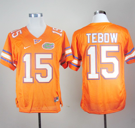 NCAA Florida Gators 15 Tim Tebow Orange Nike College Football Jersey