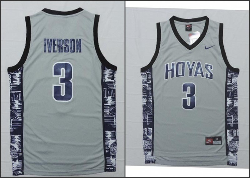 NCAA Georgetown Hoyas 3 Allen Iverson Grey Basketball Throwback Jersey