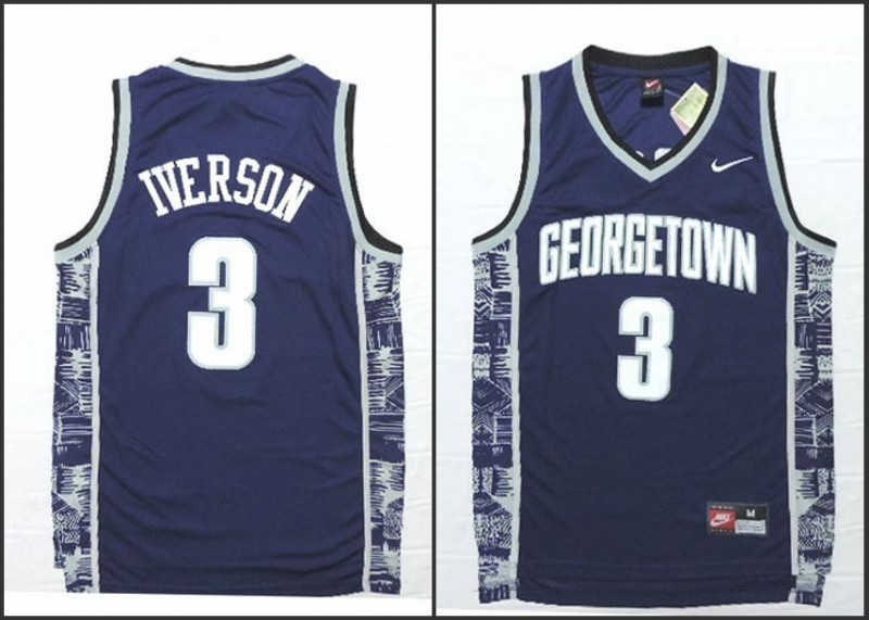 NCAA Georgetown Hoyas 3 Allen Iverson Navy Blue Basketball Throwback Jersey