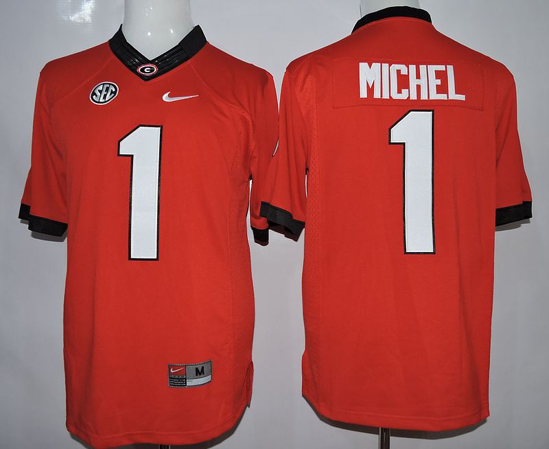 NCAA Georgia Bulldogs 1 Michel Red 2015 Jerseys