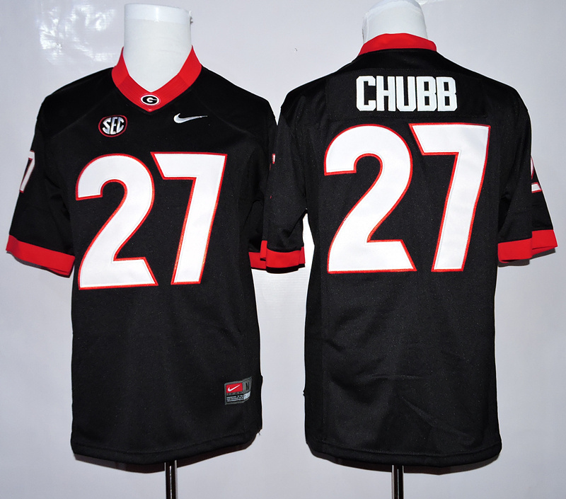 NCAA Georgia Bulldogs 27 Chubb Black 2015 Jerseys