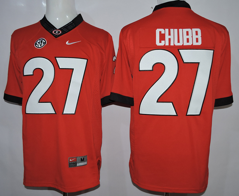 NCAA Georgia Bulldogs 27 Chubb Red 2015 Jerseys