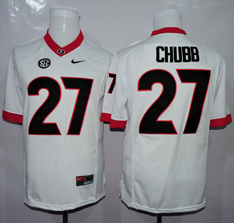 NCAA Georgia Bulldogs 27 Chubb White 2015 Jerseys