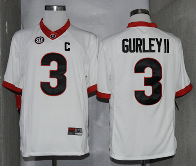 NCAA Georgia Bulldogs 3 Todd Gurley II White College Football Limited Jerseys