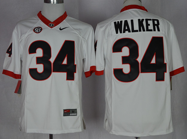 NCAA Georgia Bulldogs 34 Herchel Walker White College Football Limited Jerseys.