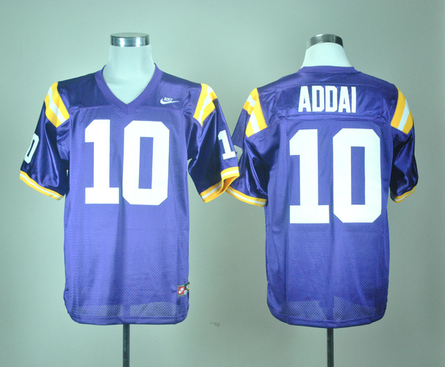 NCAA LSU Tigers 10 Joseph Addai Purple Nike College Football Throwback Jersey
