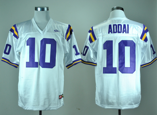 NCAA LSU Tigers 10 Joseph Addai White Nike College Football Throwback Jersey