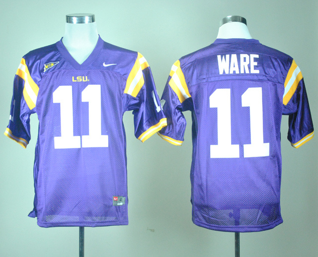 NCAA LSU Tigers 11 Spencer Ware Purple Nike College Football Jersey.