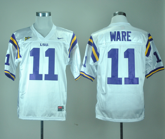 NCAA LSU Tigers 11 Spencer Ware White Nike College Football Jersey