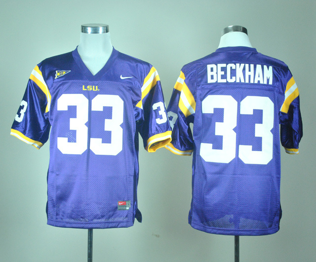 NCAA LSU Tigers 33 Odell Beckham Purple Nike College Football Jersey.
