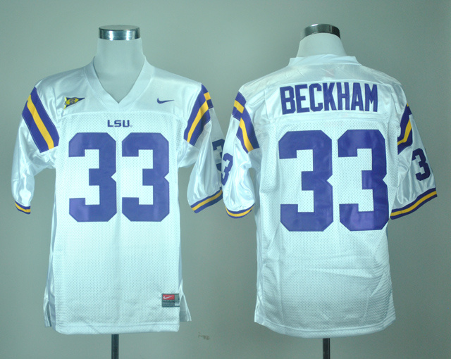 NCAA LSU Tigers 33 Odell Beckham White Nike College Football Jersey