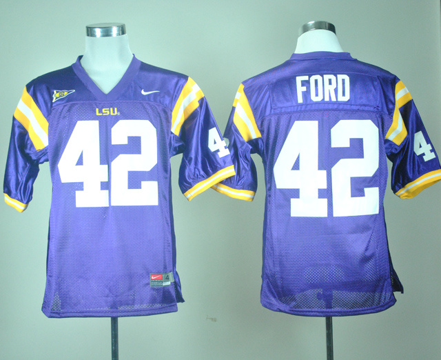 NCAA LSU Tigers 42 Michael Ford Purple Nike College Football Jersey
