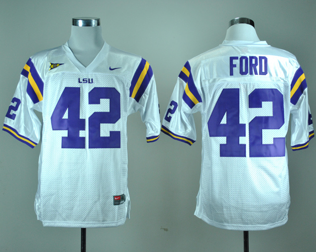NCAA LSU Tigers 42 Michael Ford White Nike College Football Jersey.