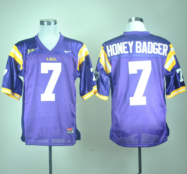 NCAA LSU Tigers 7 Honey Badger Nick Name Purple Nike College Football Jersey