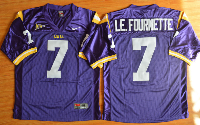 NCAA LSU Tigers 7 Le.Fournette purple 2015 Football Jersey