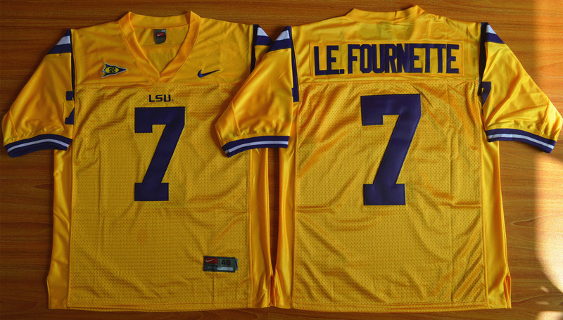 NCAA LSU Tigers 7 Leonard Fournette Gold 2015 Football Jersey.