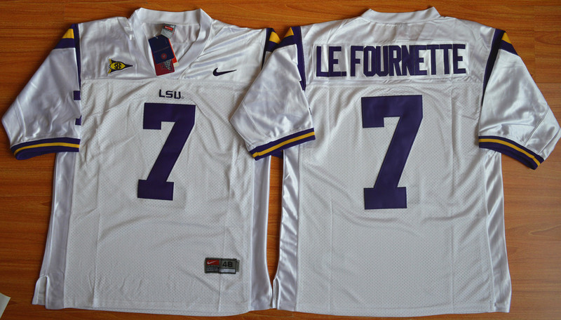 NCAA LSU Tigers 7 Leonard Fournette White 2015 Football Jersey