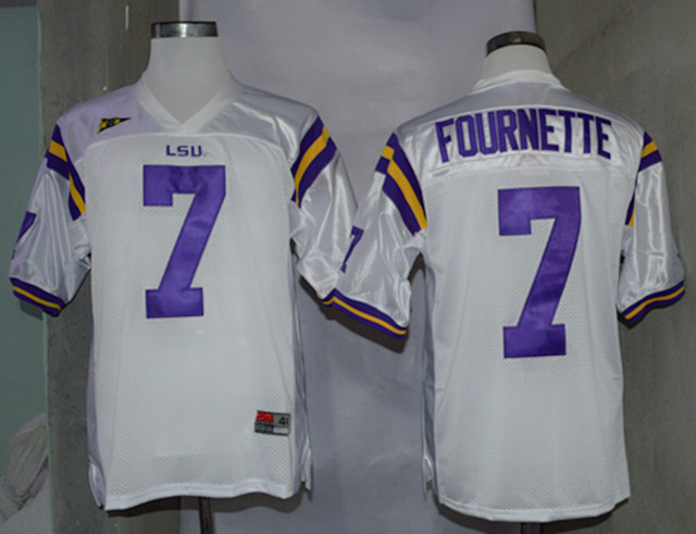 NCAA LSU Tigers 7 Leonard Fournette White Nike College Football Jerseys