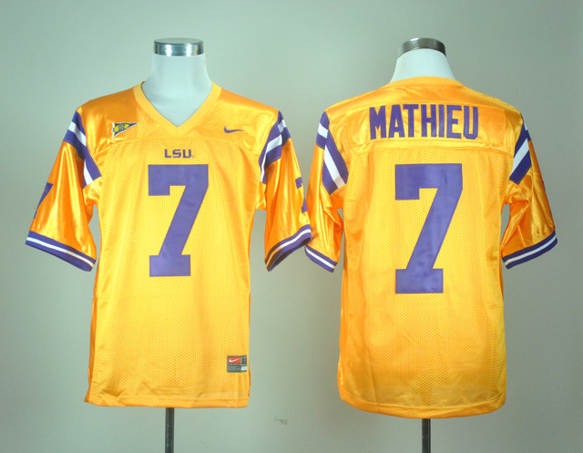 NCAA LSU Tigers 7 Tryann Mathieu Golden Nike College Football Jersey
