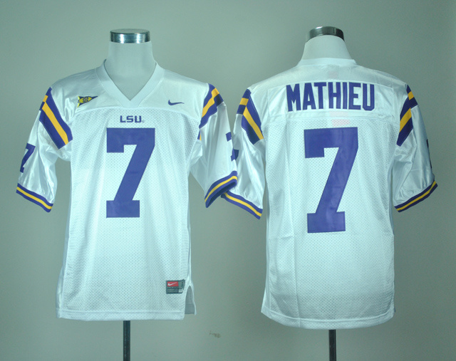 NCAA LSU Tigers 7 Tryann Mathieu White Nike College Football Jersey.