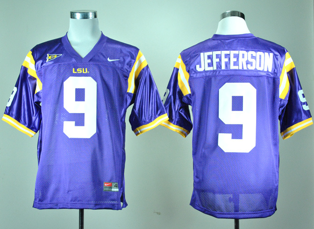 NCAA LSU Tigers 9 Jordan Jefferson Purple Nike College Football Jersey