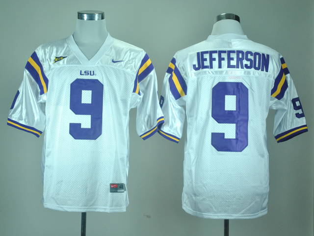 NCAA LSU Tigers 9 Jordan Jefferson White Nike College Football Jersey