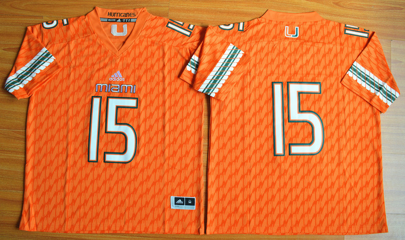 NCAA Miami Hurricanes 15 Brad Kaaya Orange Football Jerseys