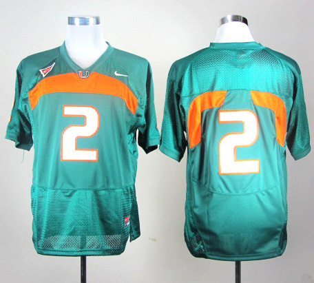 NCAA Miami Hurricanes 2 Green Nike College Football Jersey