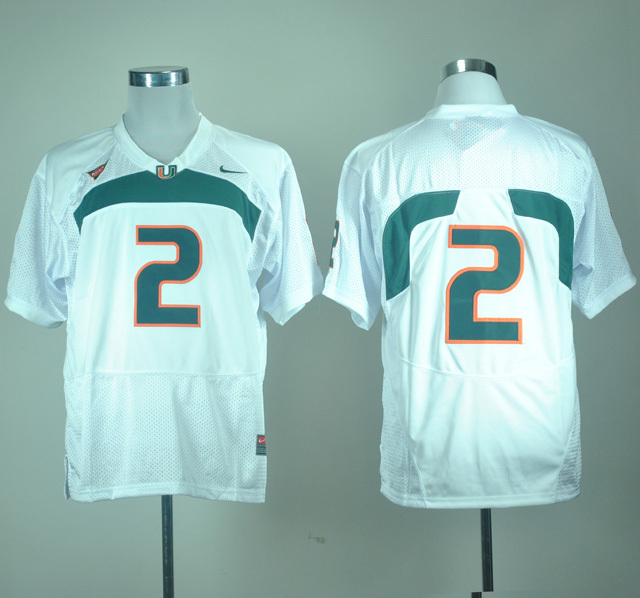 NCAA Miami Hurricanes 2 White Nike College Football Jersey