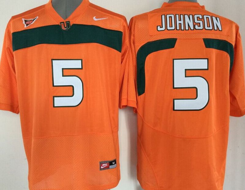 NCAA Miami Hurricanes 5 Andre Johnson Orange 2015 Jerseys