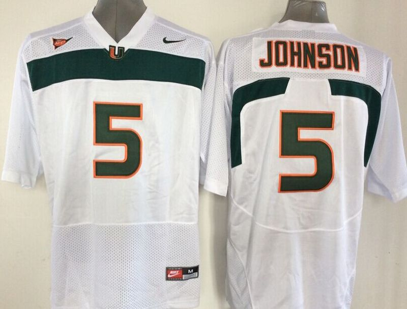 NCAA Miami Hurricanes 5 Andre Johnson White 2015 Jerseys