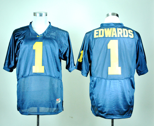 NCAA Michigan Wolverines 1 Braylon Edwards Navy Blue Nike College Football Jersey