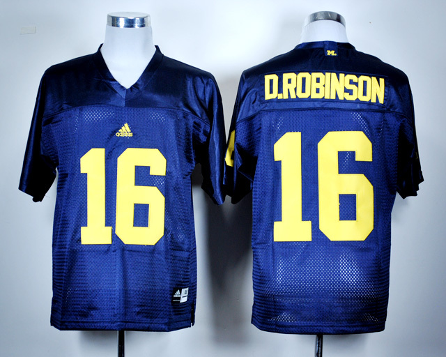 NCAA Michigan Wolverines 16 Denard Robinson Navy Blue College Football Jersey