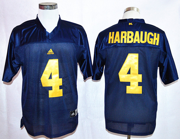 NCAA Michigan Wolverines 4 Harbaugh Navy Blue Nike ollege Football Jersey.