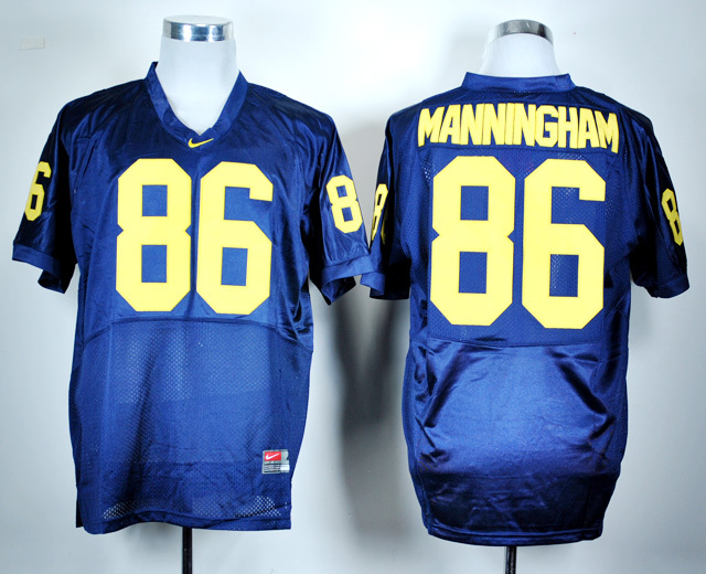 NCAA Michigan Wolverines 86 Mario Manningham Navy Blue Nike College Football Jersey