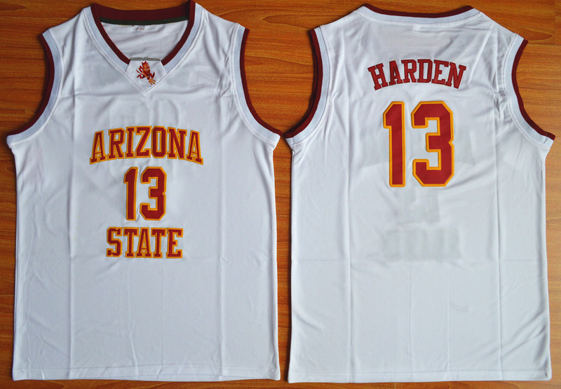 NCAA NBA Arizona State Sun Devils 13 James Harden White College Basketball Jersey