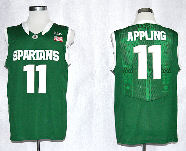 NCAA NBA Michigan State Spartans 11 Keith Appling Green College Football Basketball Jersey.