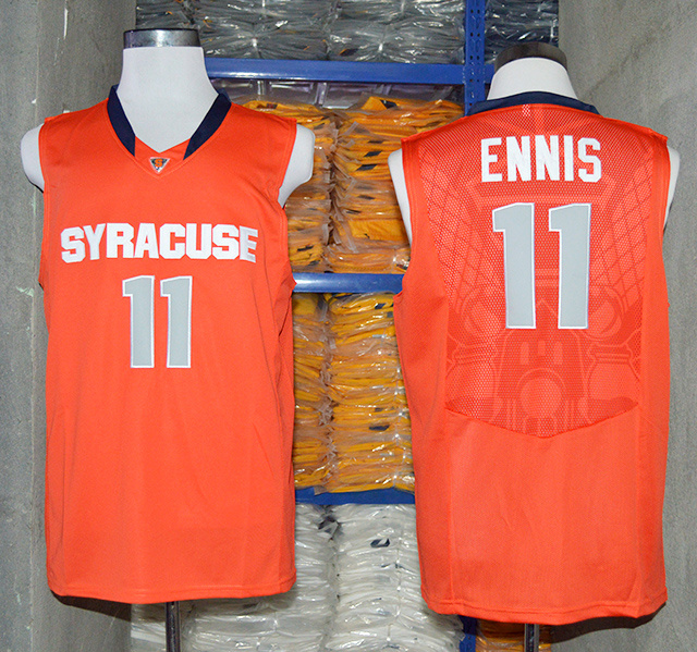 NCAA NBA Syracuse Orange 11 Tyler Ennis Orange Authentic Basketball Jersey.