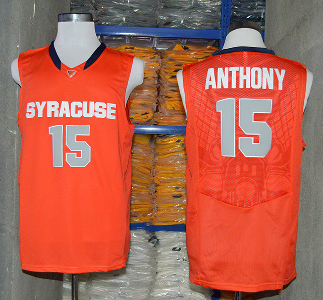NCAA NBA Syracuse Orange 15 Camerlo Anthony Orange Authentic Basketball Jersey