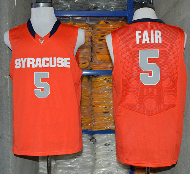 NCAA NBA Syracuse Orange 5 C.J. Fair Orange Authentic Basketball Jersey.