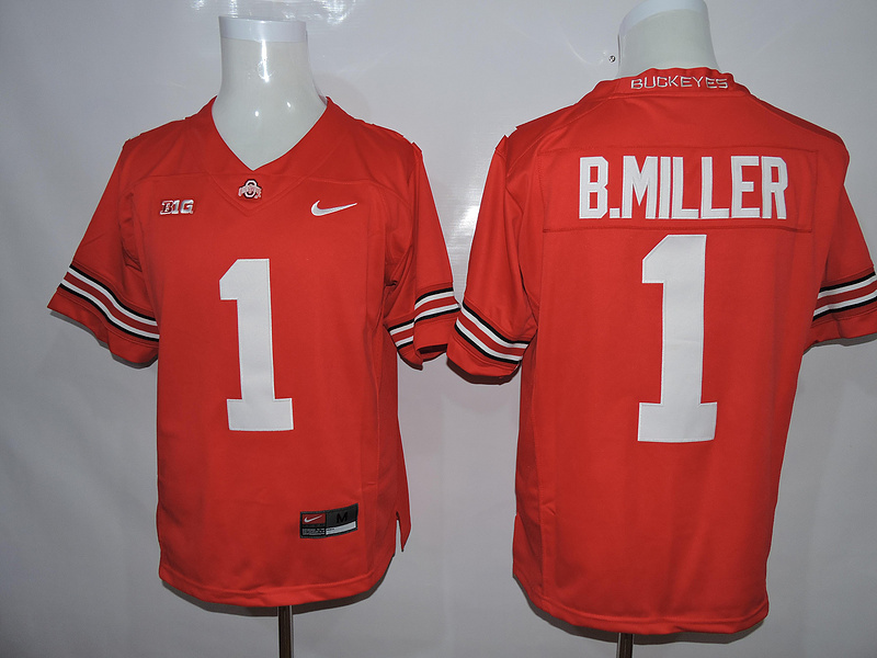 NCAA Ohio State Buckeyes 1 B.Miller Red Jerseys